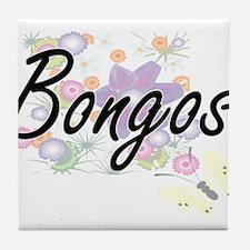 Bongos artistic design with flowers Tile Coaster