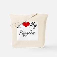 I Love my Puggles Tote Bag