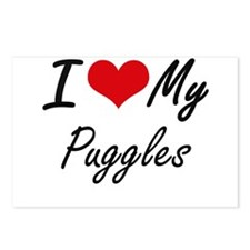 I Love my Puggles Postcards (Package of 8)