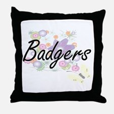 Badgers artistic design with flowers Throw Pillow