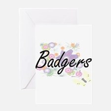 Badgers artistic design with flower Greeting Cards