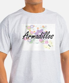 Armadillos artistic design with flowers T-Shirt