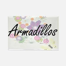 Armadillos artistic design with flowers Magnets