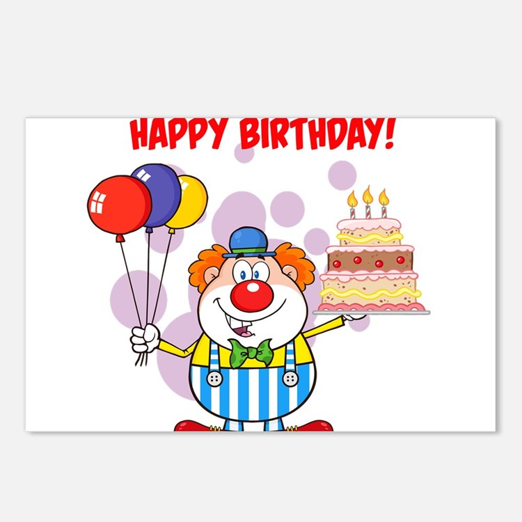 Birthday Clown Postcards (Package of 8)