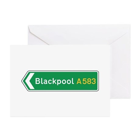 Blackpool Roadmarker, UK Greeting Cards (Pk of 10