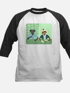 Black Lab & Sock Monkey Kids Baseball Jersey