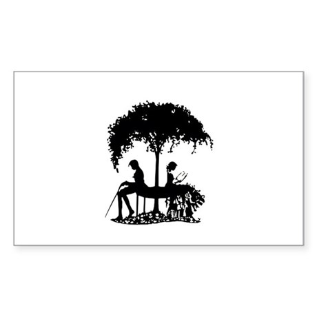 tree with couple Rectangle Sticker