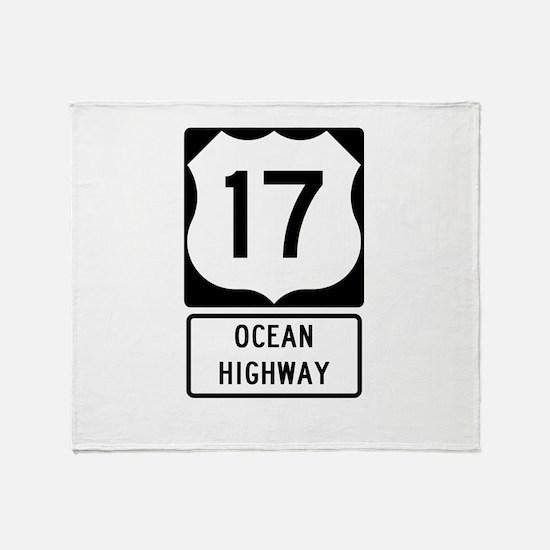 US Route 17 Ocean Highway Throw Blanket