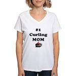 #1 Curling Mom Women's V-Neck T-Shirt