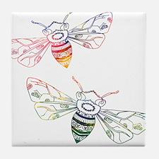Multicolored Honeybee Doodles Tile Coaster