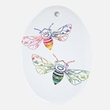 Multicolored Honeybee Doodles Oval Ornament