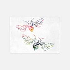 Multicolored Honeybee Doodles 5'x7'Area Rug