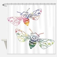 Multicolored Honeybee Doodles Shower Curtain