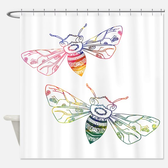Multicolored Honeybee Doodles Shower Curtain