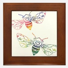 Multicolored Honeybee Doodles Framed Tile