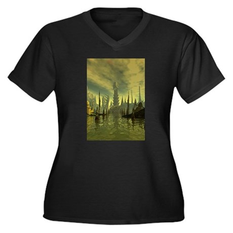 R'lyeh Women's Plus Size V-Neck Dark T-Shirt