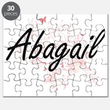 Abagail Artistic Name Design with Butterfli Puzzle