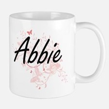 Abbie Artistic Name Design with Butterflies Mugs