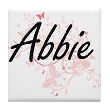 Abbie Artistic Name Design with Butte Tile Coaster
