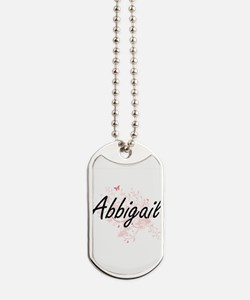 Abbigail Artistic Name Design with Butter Dog Tags