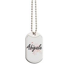 Abigale Artistic Name Design with Butterf Dog Tags