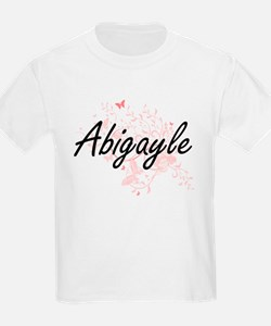 Abigayle Artistic Name Design with Butterf T-Shirt