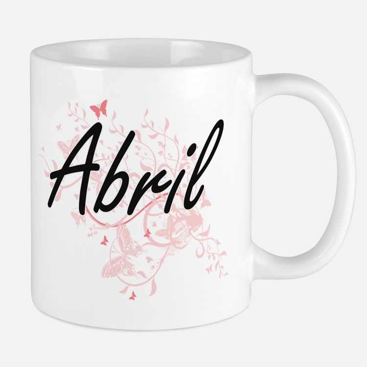 Abril Artistic Name Design with Butterflies Mugs
