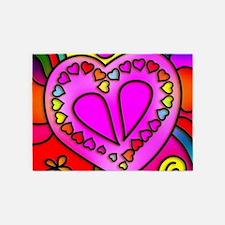 Colorful modern Love 5'x7'Area Rug
