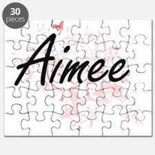 Aimee Artistic Name Design with Butterflies Puzzle