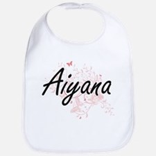 Aiyana Artistic Name Design with Butterflies Bib
