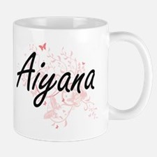 Aiyana Artistic Name Design with Butterflies Mugs