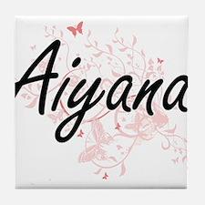 Aiyana Artistic Name Design with Butt Tile Coaster