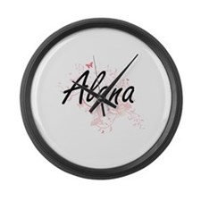 Alana Artistic Name Design with B Large Wall Clock
