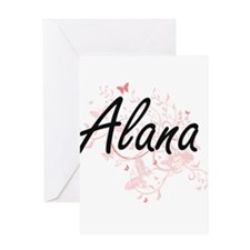 Alana Artistic Name Design with But Greeting Cards