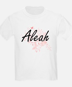 Aleah Artistic Name Design with Butterflie T-Shirt