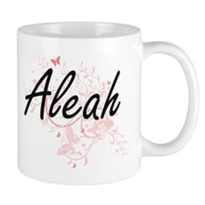 Aleah Artistic Name Design with Butterflies Mugs