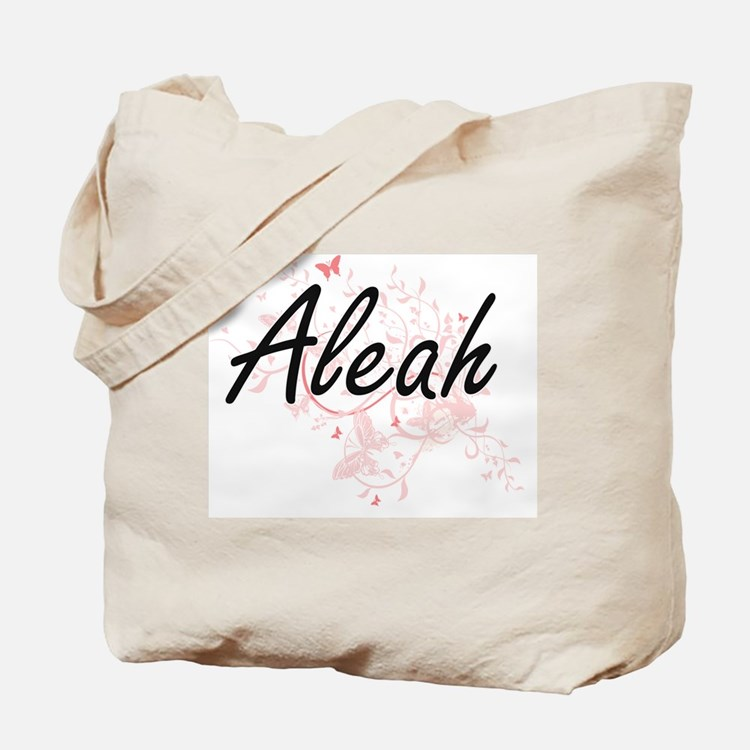 Aleah Artistic Name Design with Butterfli Tote Bag