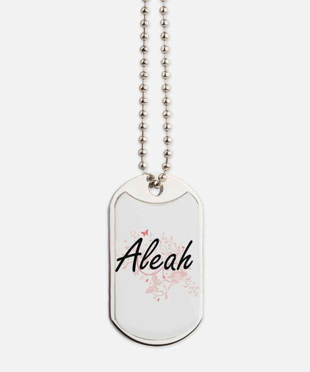 Aleah Artistic Name Design with Butterfli Dog Tags