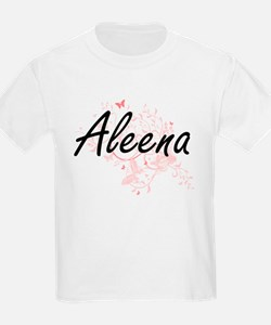 Aleena Artistic Name Design with Butterfli T-Shirt