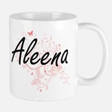 Aleena Artistic Name Design with Butterflies Mugs