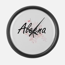 Aleena Artistic Name Design with Large Wall Clock