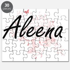 Aleena Artistic Name Design with Butterflie Puzzle