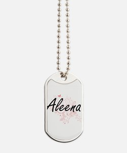 Aleena Artistic Name Design with Butterfl Dog Tags