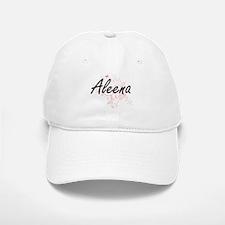 Aleena Artistic Name Design with Butterflies Baseball Baseball Cap