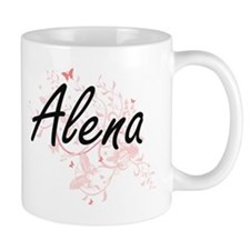 Alena Artistic Name Design with Butterflies Mugs