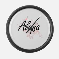 Alena Artistic Name Design with B Large Wall Clock