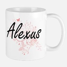 Alexus Artistic Name Design with Butterflies Mugs