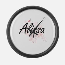 Alissa Artistic Name Design with Large Wall Clock