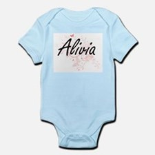 Alivia Artistic Name Design with Butterf Body Suit