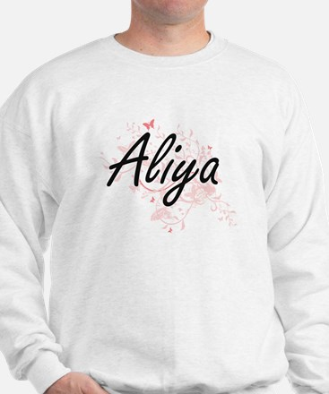 Aliya Artistic Name Design with Butterf Sweater